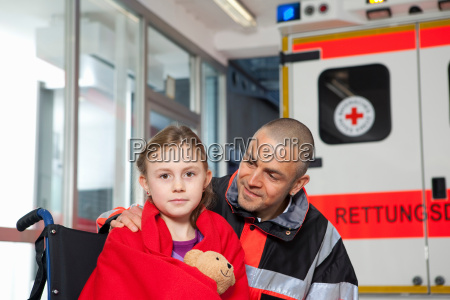 ambulance man caring about girl