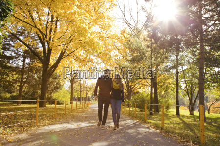 young couple strolling in autumn park
