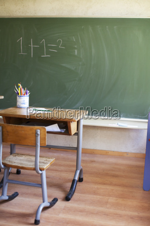 desk and blackboard with sum