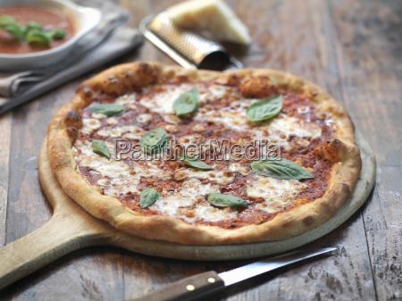 homemade margherita pizza with mozzarella cheese