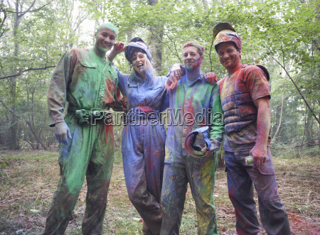 paintball players in paintball wear marked