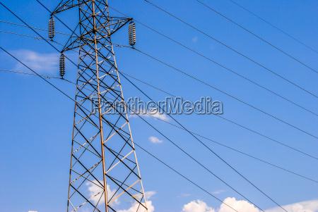 electricity pylon blue sky