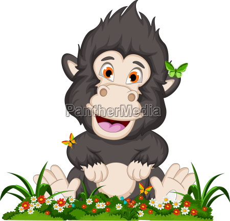 funny gorilla cartoon in flower garden