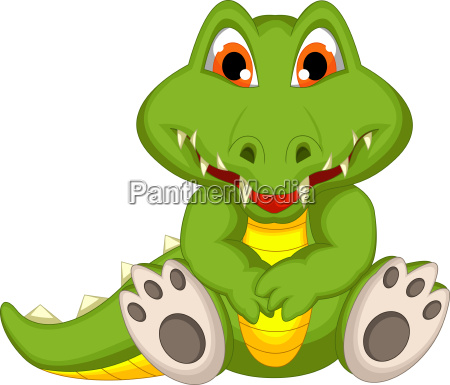 funny crocodile cartoon sitting