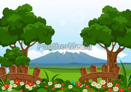 beauty summer with flower garden landscape