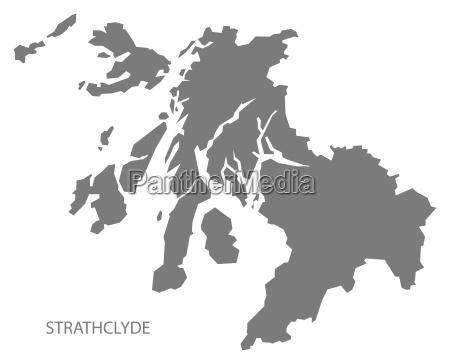 strathclyde scotland map grey