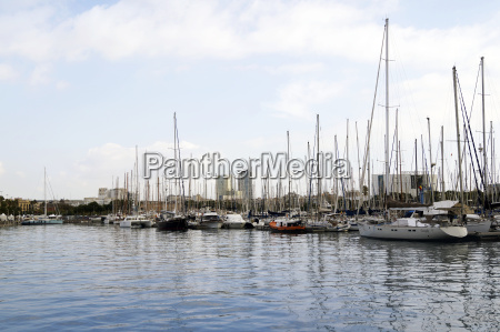 yachts parked at port vell in
