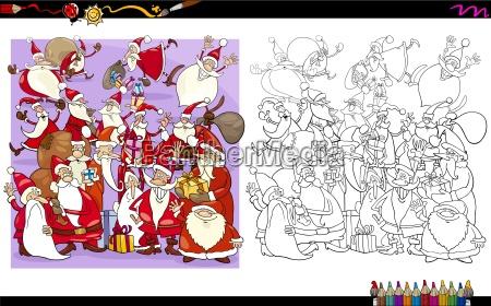 santa characters coloring book