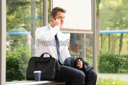 businessman talking on mobile phone at