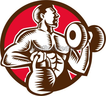 athlete lifting kettlebell dumbbell circle woodcut