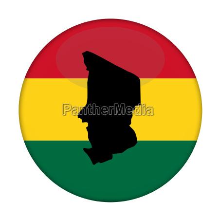 chad map on a rastafarian flag