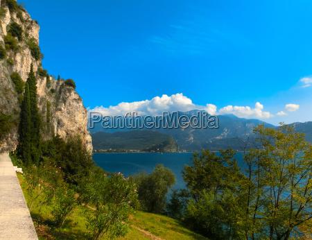 high mountains and lake garda italy
