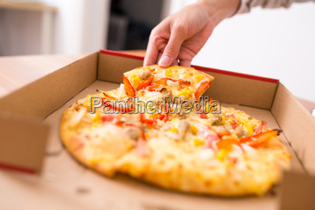 pizza take away and eating at