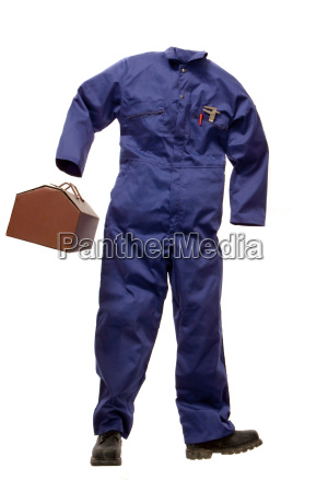 a workmans suit with tool box