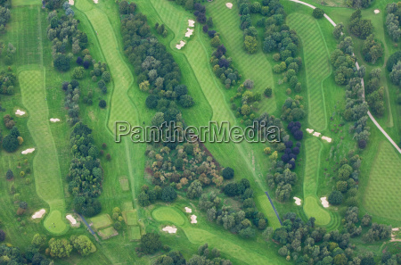 aerial view of links golf course