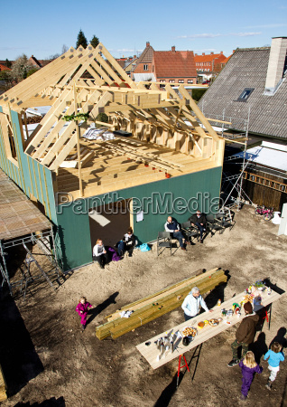 aerial view of builders on site