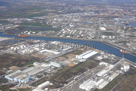 aerial view of canals port and