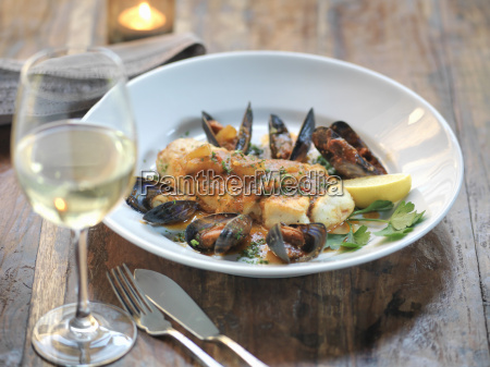 pan fried halibut with mussels fresh