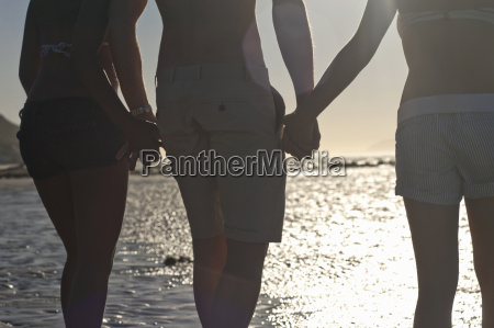 friends holding hands facing sea