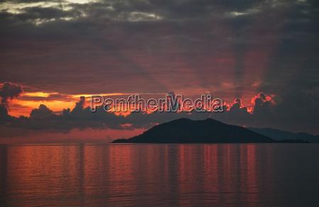 dramatic sunset over tranquil sea fethiye