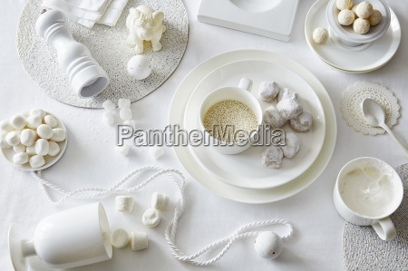 white colored still life with confectionery
