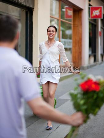 woman meeting man