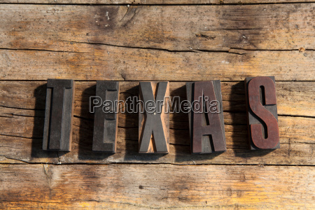 wooden blocks spelling texas