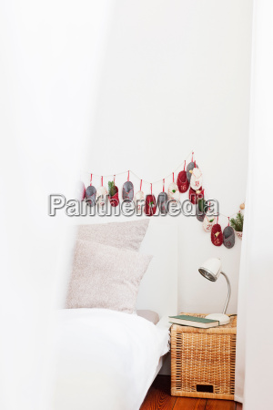 advent calendar on bedroom wall