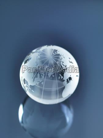 glass globe illustrating north america europe