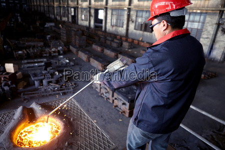 working in cast iron foundry