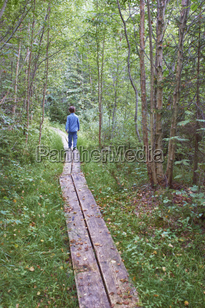 young boy exploring forest walkway