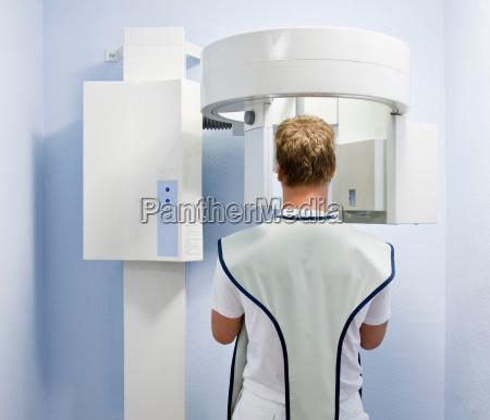 dental patient having x ray taken