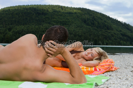 a young couple having fun by