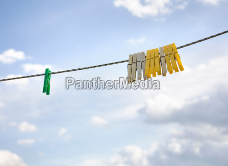 clothes pegs hanging on washing line