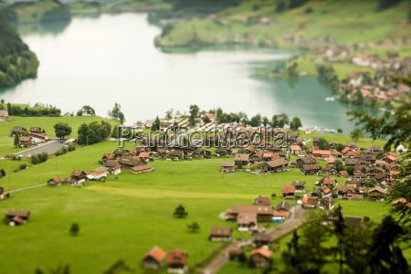 aerial view of village on lake