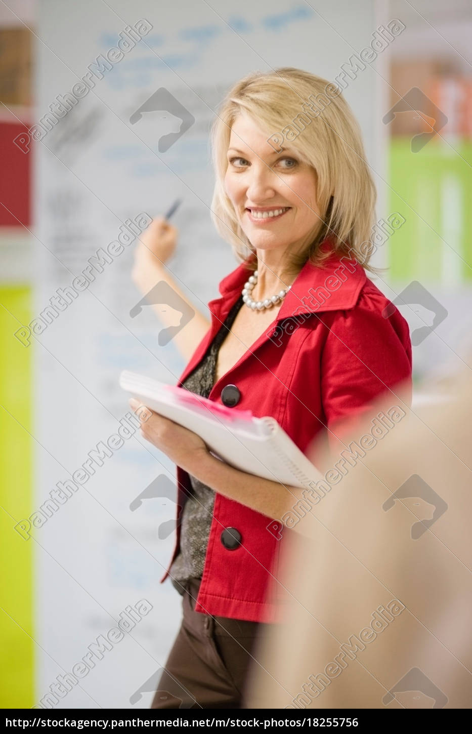 businesswoman, pointing, to, office, board - 18255756