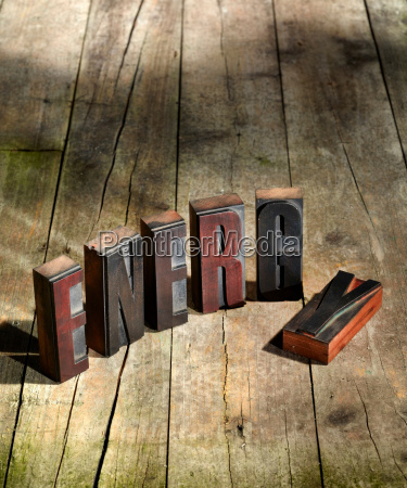 wooden blocks spelling energy