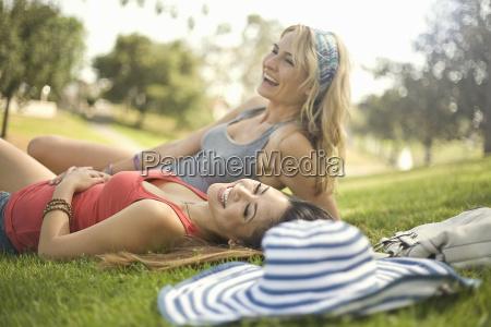 two young women having fun and