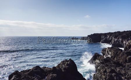 sea and rocky coast lanzarote canary
