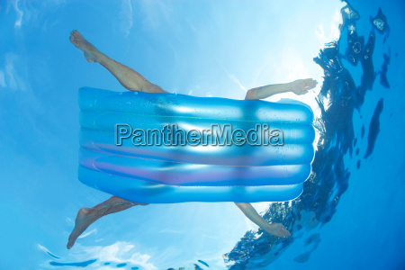 man, on, inflatable, lilo, in, pool - 18271358