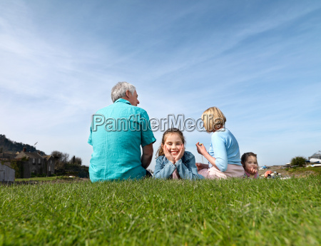 mature couple children relax on