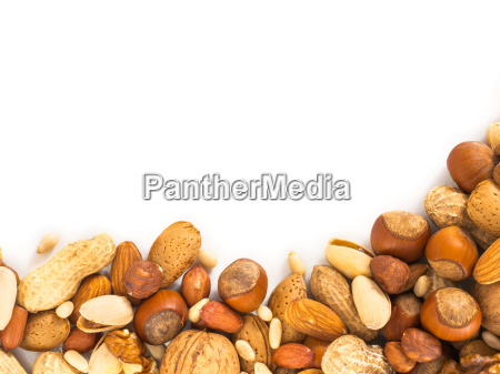 background of mixed nuts with copy