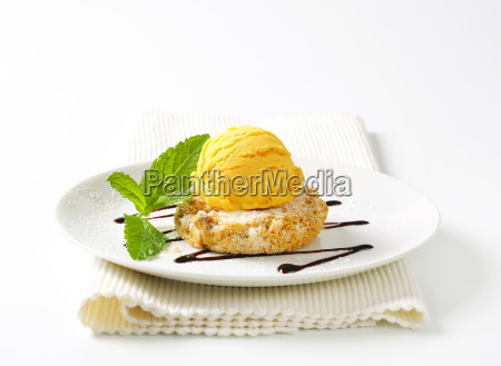 almond cookie and scoop of ice