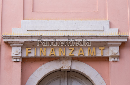 lettering tax office at an old
