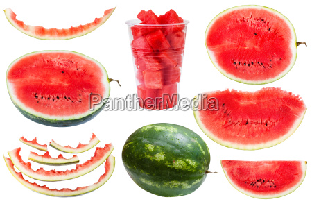 set from whole and sliced watermelons