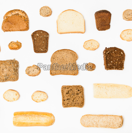 various sliced bread loaves on white