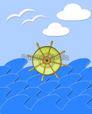 marine waves with steering wheel mews