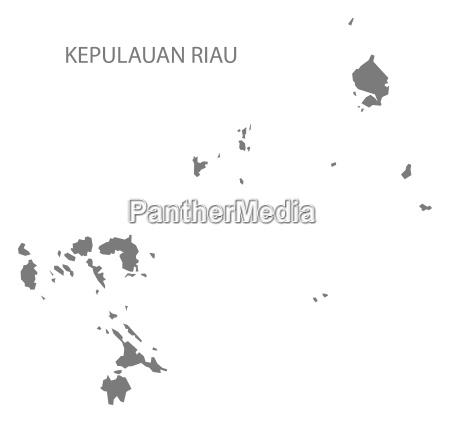 kepulauan riau indonesia map grey