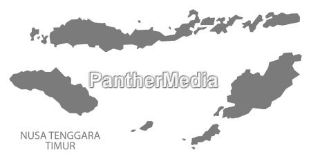 nusa tenggara timur indonesia map grey