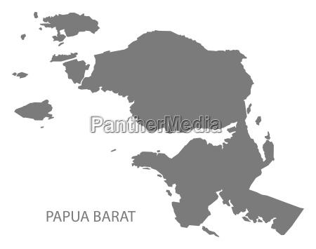 papua barat indonesia map grey